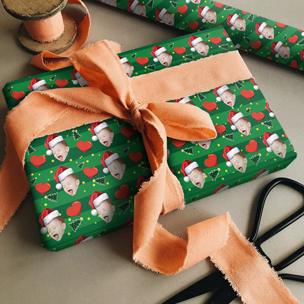 Custom Face Gift Wrap-Merry Christmas