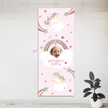 Custom Party Banner- Rainbows & Unicorns (24 in. x 60 in. )