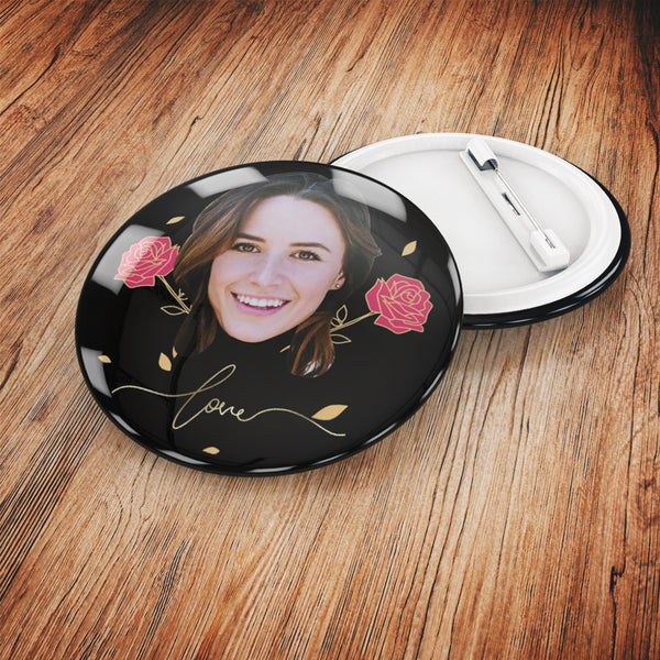 Custom Button - Love and Rose