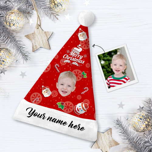 Custom Snowman Hero Face Santa Hat With Your Text