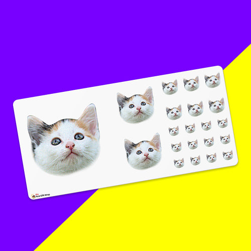 Father's Day Gift Custom Face Sticker Sheet - Cat