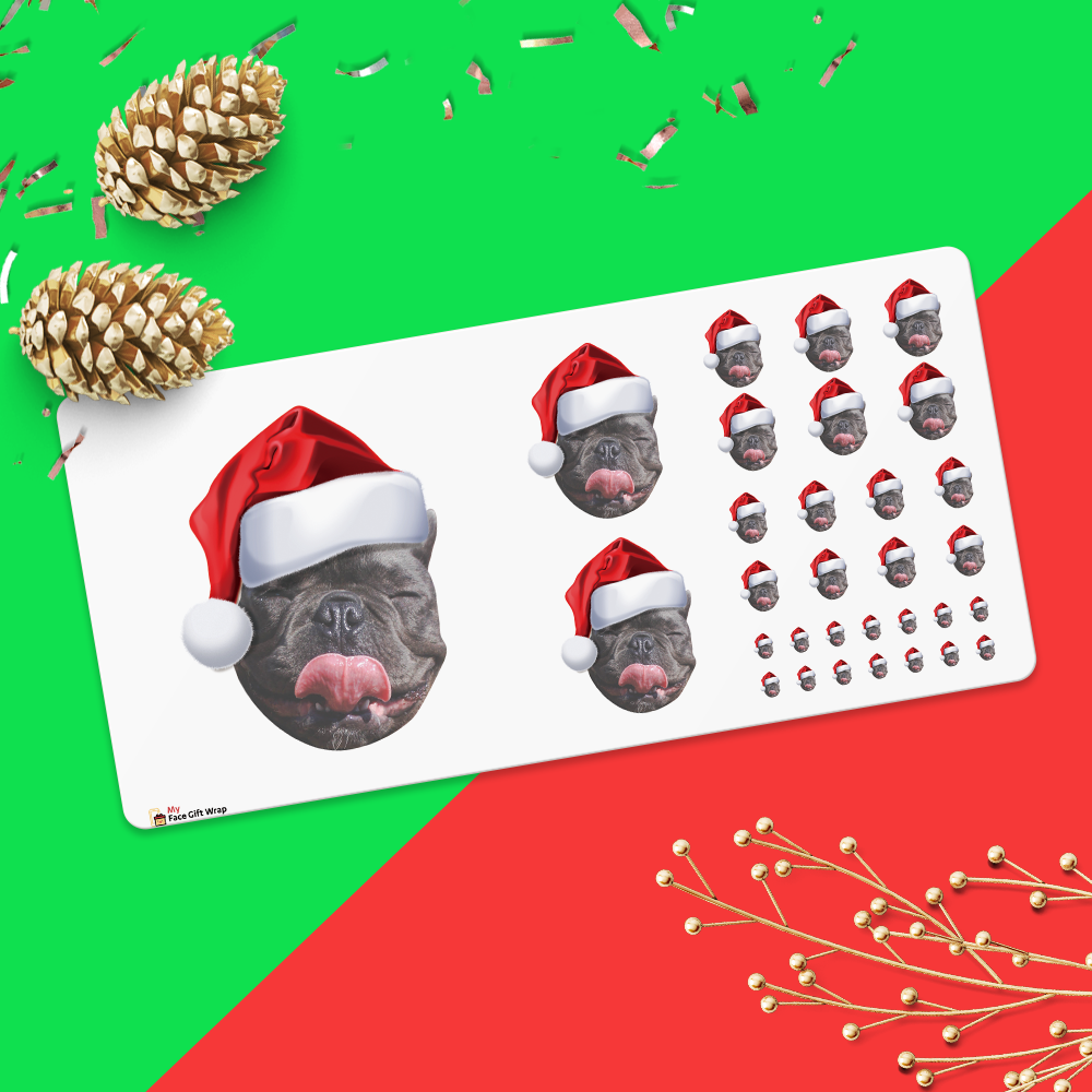 Custom Big Face Sticker Sheet Pet Dog Santa Hat