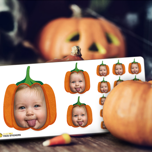 Custom Face Sticker Sheet - Happy Halloween Pumpkin