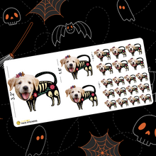Custom Face Sticker Sheet - Halloween Skeleton Dog