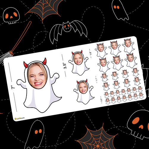 Custom Face Sticker Sheet - Halloween Ghost