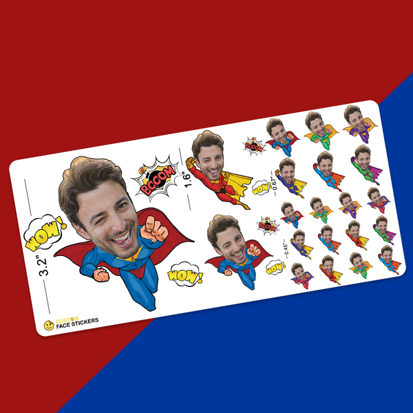 Custom Sampler Face Sticker Sheet Superman