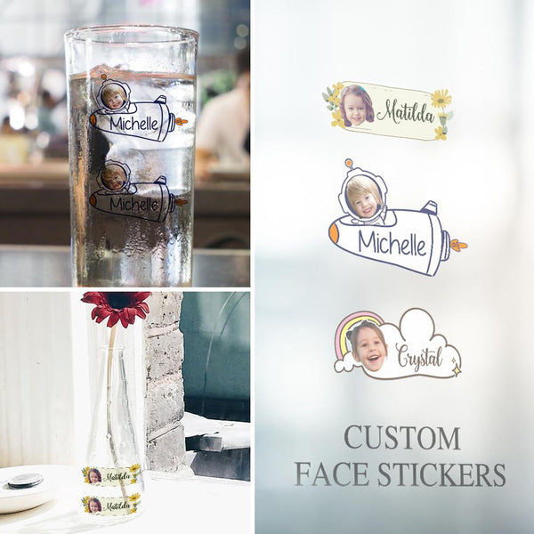 Custom Face Sticker Sheet Photo And Name Space Astronaut