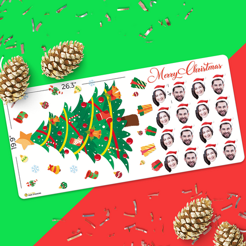 Custom Sampler Face Sticker Sheet Christmas Tree