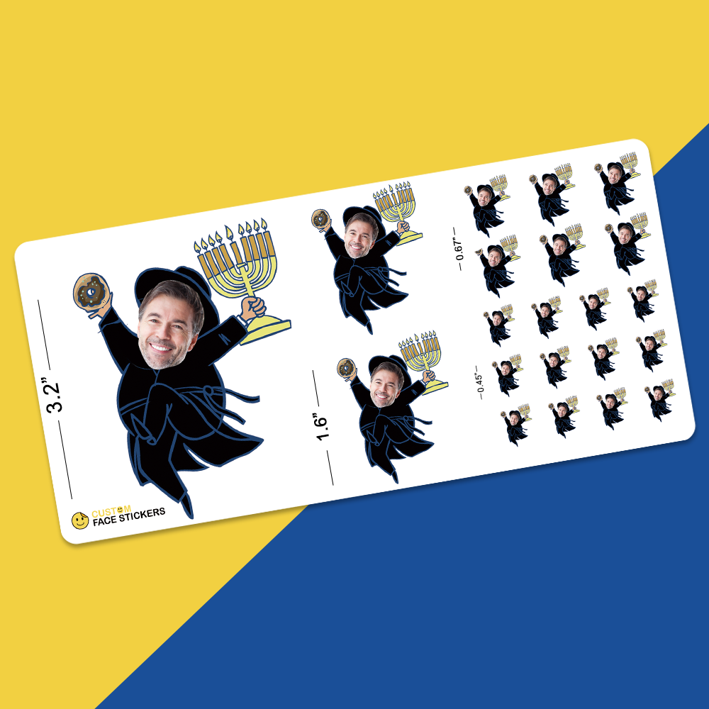 Custom Face Sticker Sheet -  Happy Hanukkah