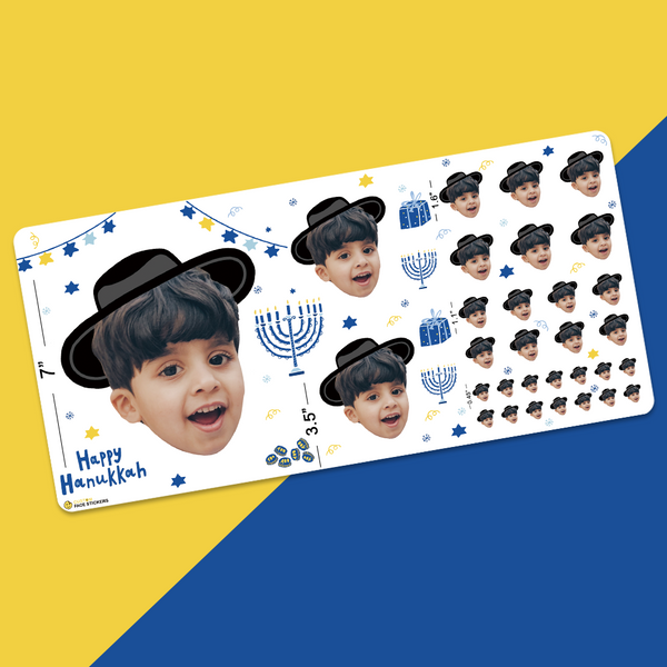 Custom Face Sticker Sheet -  Happy Hanukkah Boy