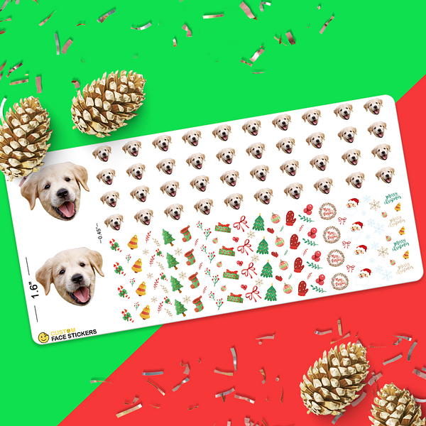 Custom Nail Sticker Sheet Dog Christmas Elements