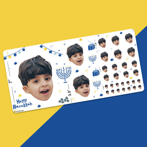 Custom Face Sticker Sheet -  Happy Hanukkah Super Boy
