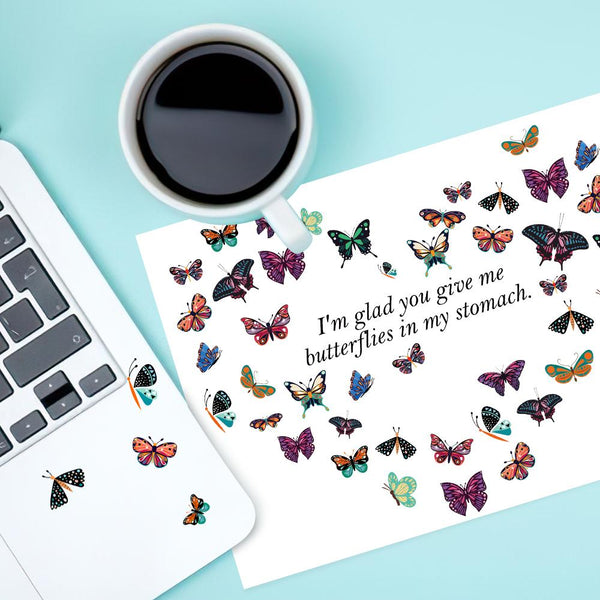 Custom Text Heart Butterfly Stickers Personalized Multi-picture Butterfly Labels