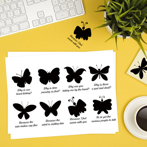 Butterfly Silhouette Lyrics Sticker English-Le Papillon