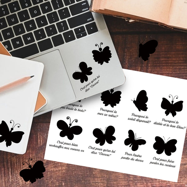 Butterfly Silhouette French Lyrics Sticker-Le Papillon
