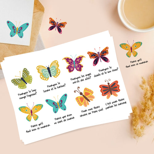Colord Butterfly Lyrics Sticker French-Le Papillon