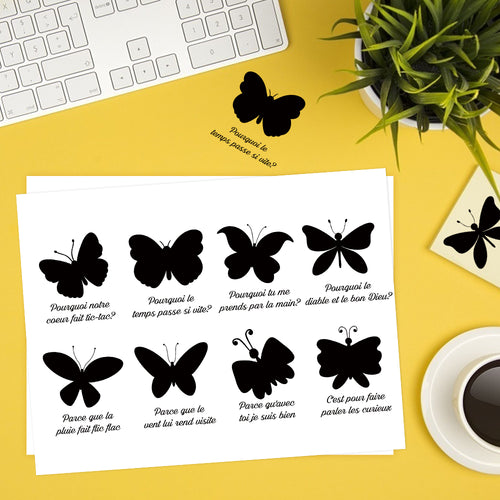 Butterfly Silhouette Lyrics Sticker French-Le Papillon