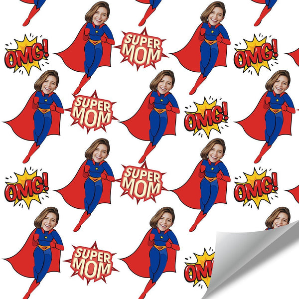 Custom Face Gift Wrap-Super Mom