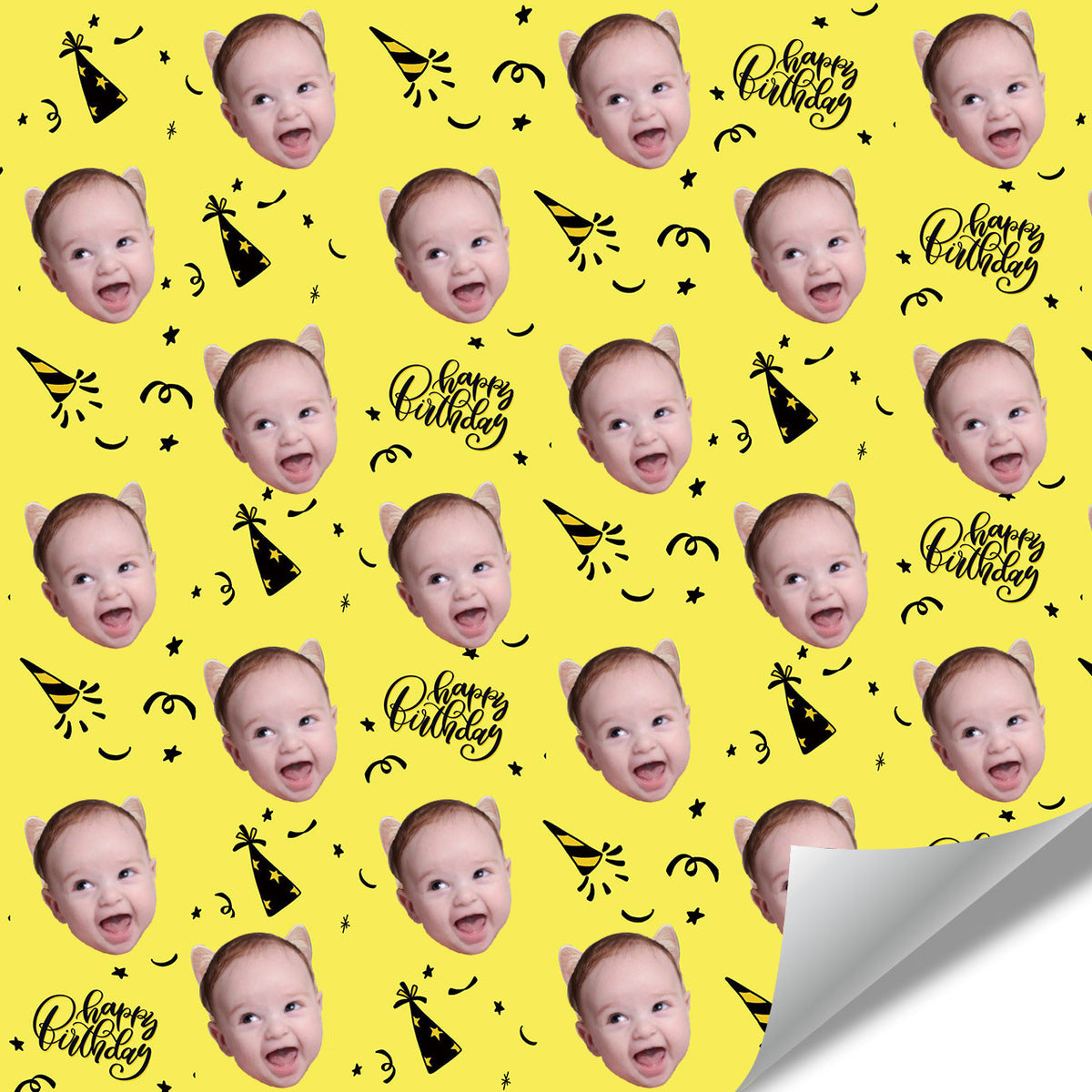 Custom Face Gift Wrap-Happy Birthday