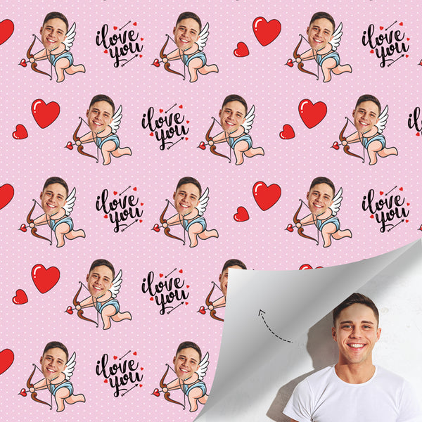 Custom Face Gift Wrap-Naughty Cupid