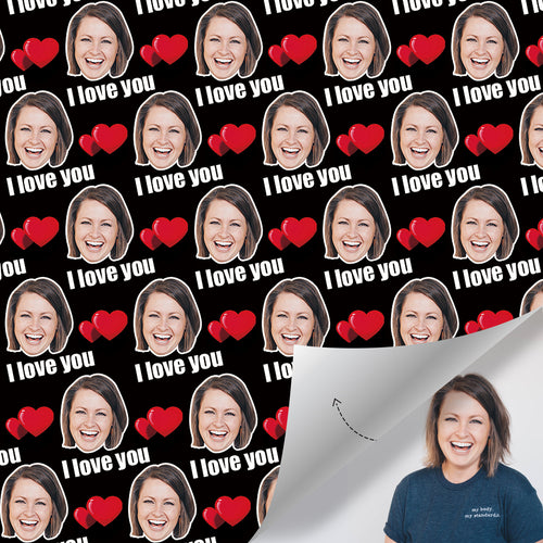 Custom Face Gift Wrap-I Love You