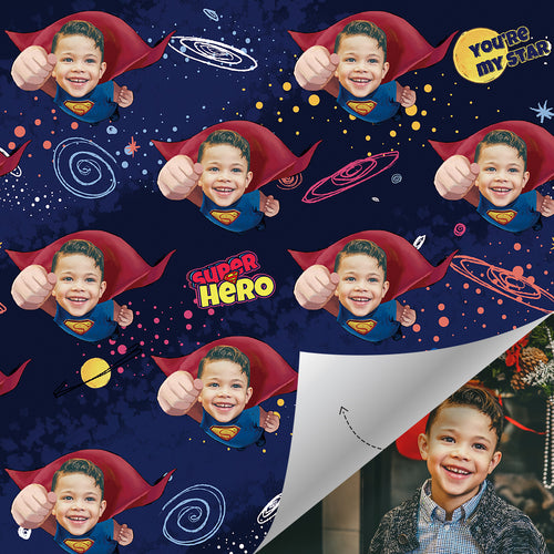 Custom Face Gift Wrap - Superhero