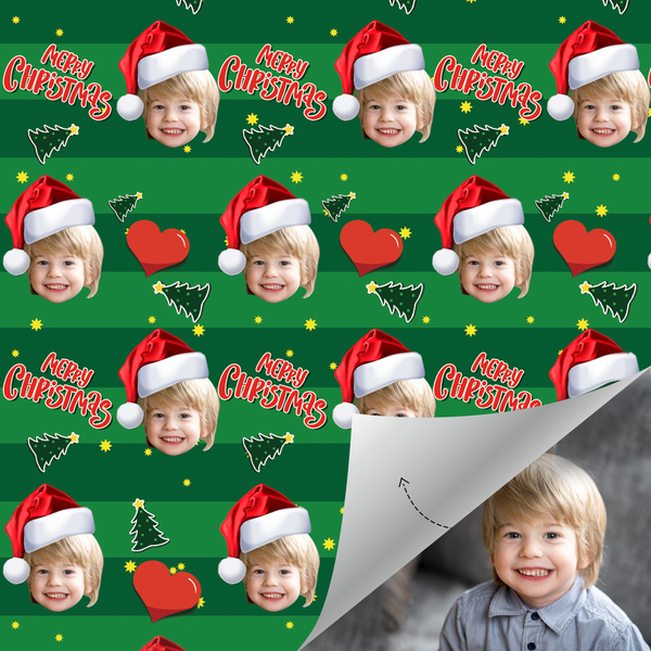Custom Face Gift Wrap - Merry Christmas (Xmas)