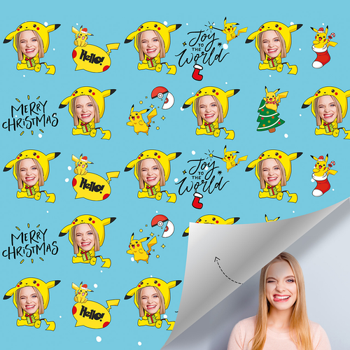 Custom Face Gift Wrap - Pokemon