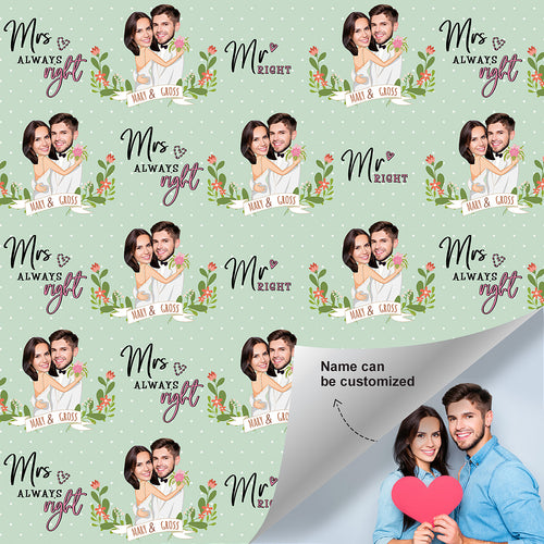 Custom Face Name Gift Wrap - Mr & Mrs