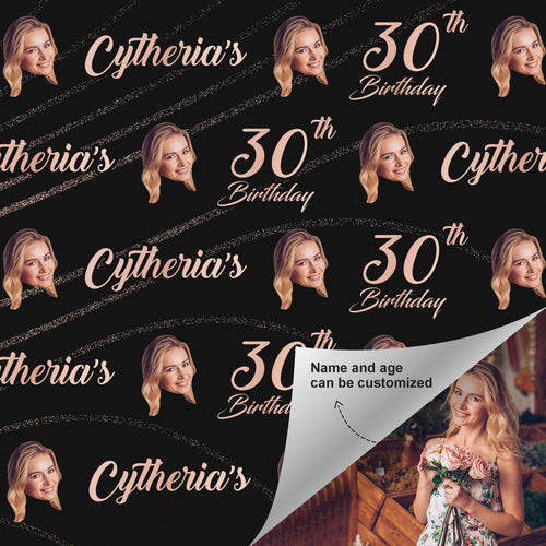 Custom Face Age Name Gift Wrap-Happy 30th Birthday