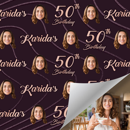 Custom Face Age Name Gift Wrap-Happy 50th Birthday