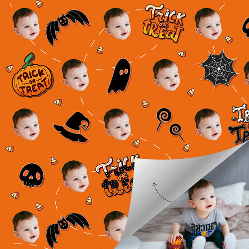 Custom Face Gift Wrap - Happy Halloween Pumpkin