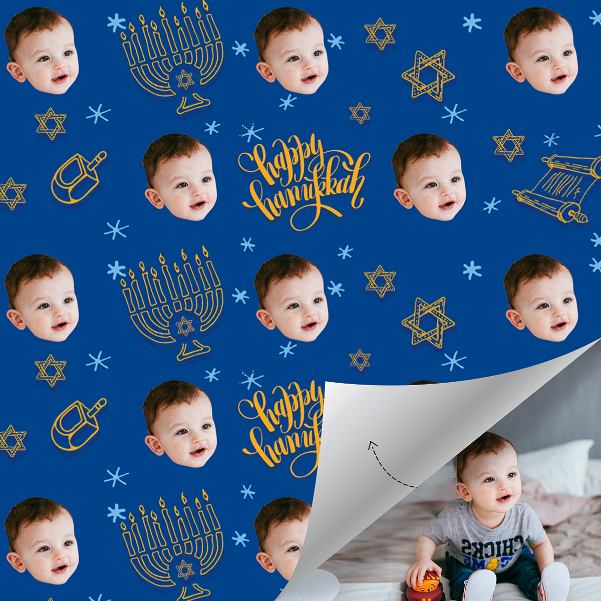 Custom Face Gift Wrap-Happy Hanukkah