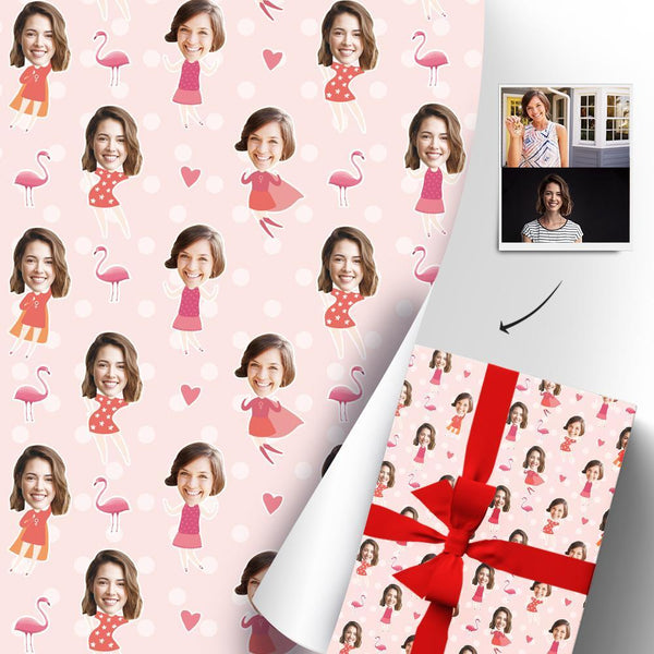 Custom Face Gift Wrapping Paper Cute Girl Gift Paper