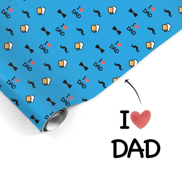 Custom Gift Wrapping Paper Customizable Text I Love Dad