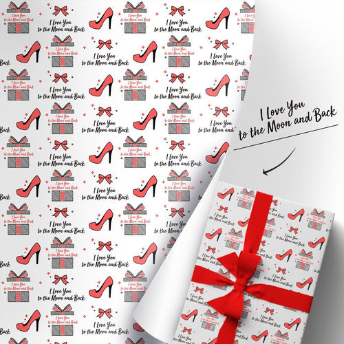Custom Gift Wrapping Paper I Love You To The Moon And Back