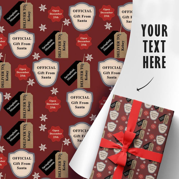 Custom Gift Wrapping Paper Official Gift From Santa Claus