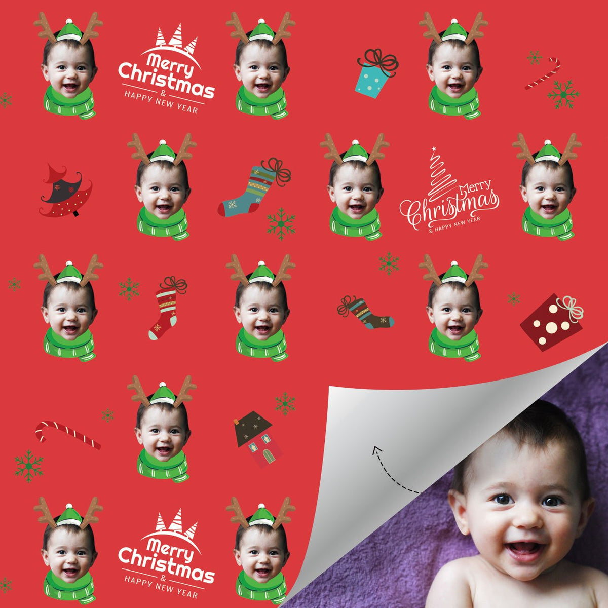 Custom Face Gift Wrap-Merry Christmas Santa Elk Baby