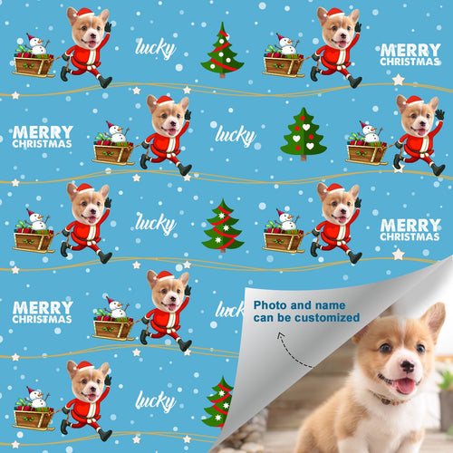 Custom Face Name Gift Wrap-Merry Christmas Santa Dog