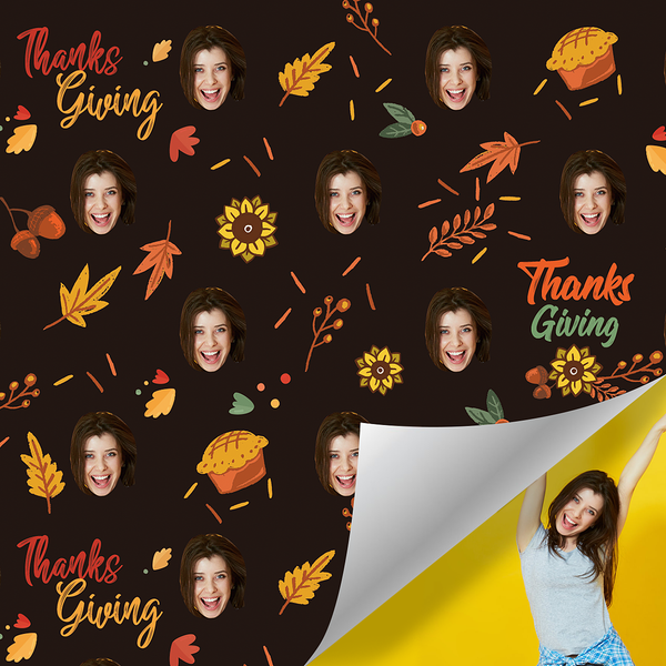 Custom Face Photo Name Gift Wrap-Thanksgiving Day