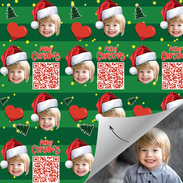 Custom Face Gift Wrap With Your Video-Merry Christmas(Xmas)