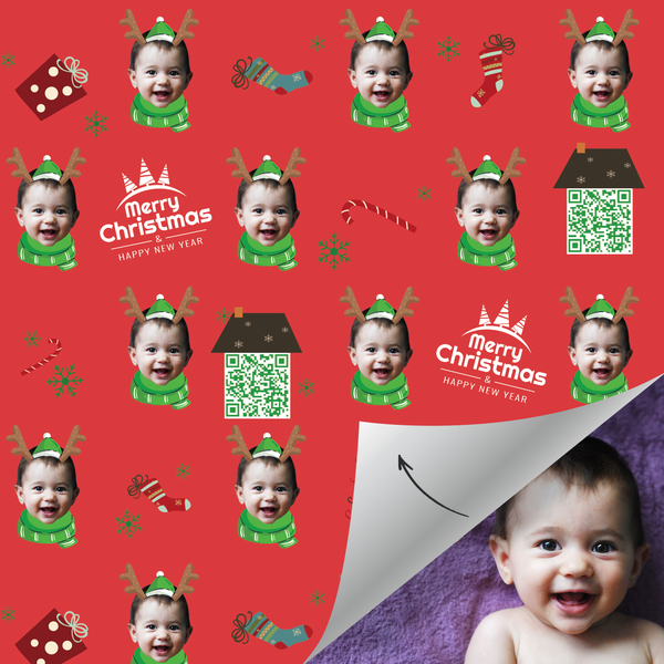 Custom Face Gift Wrap With Your Video-Merry Christmas Santa Elk Baby