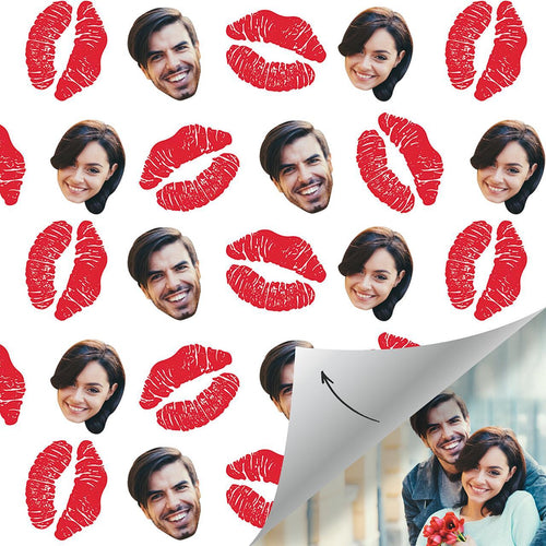 Custom Face Gift Wrap-Red lips
