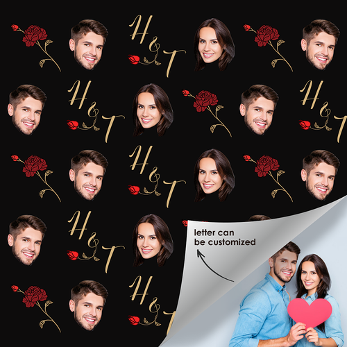 Custom Face Photo Name Gift Wrap Couple Rose