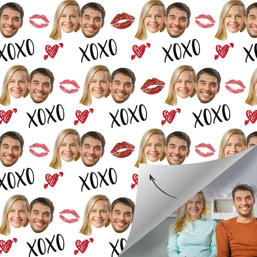 Custom Face Valentine's Day Gift Wrap - XOXO