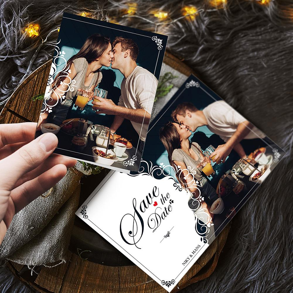 Custom Photo Name Valentine's Day Greeting Cards - Love The Date