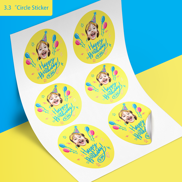 Custom Face Stickers - Birthday (3.3in. diameter)