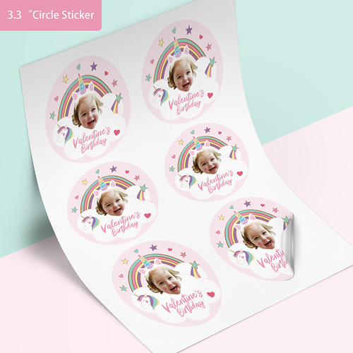Custom Face Stickers - Rainbows & Unicorns (3.3 in. diameter)