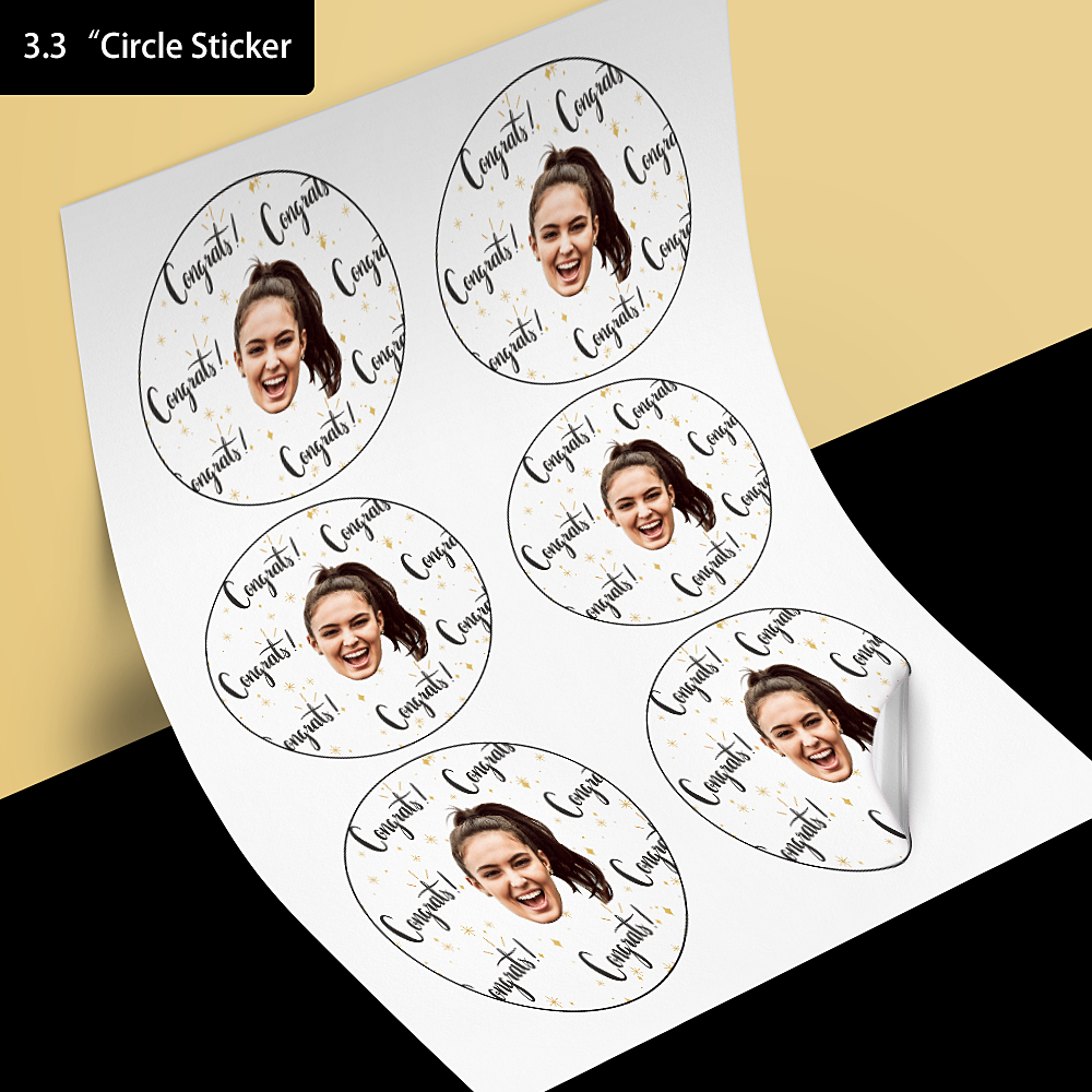 Custom Face Stickers -  Congratulations (3.3 in. diameter)