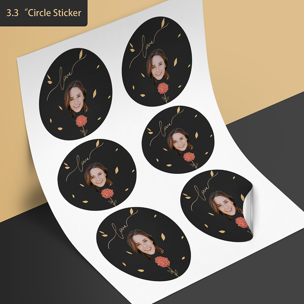 Custom Face Stickers - Rose and Love (3.3 in. diameter)